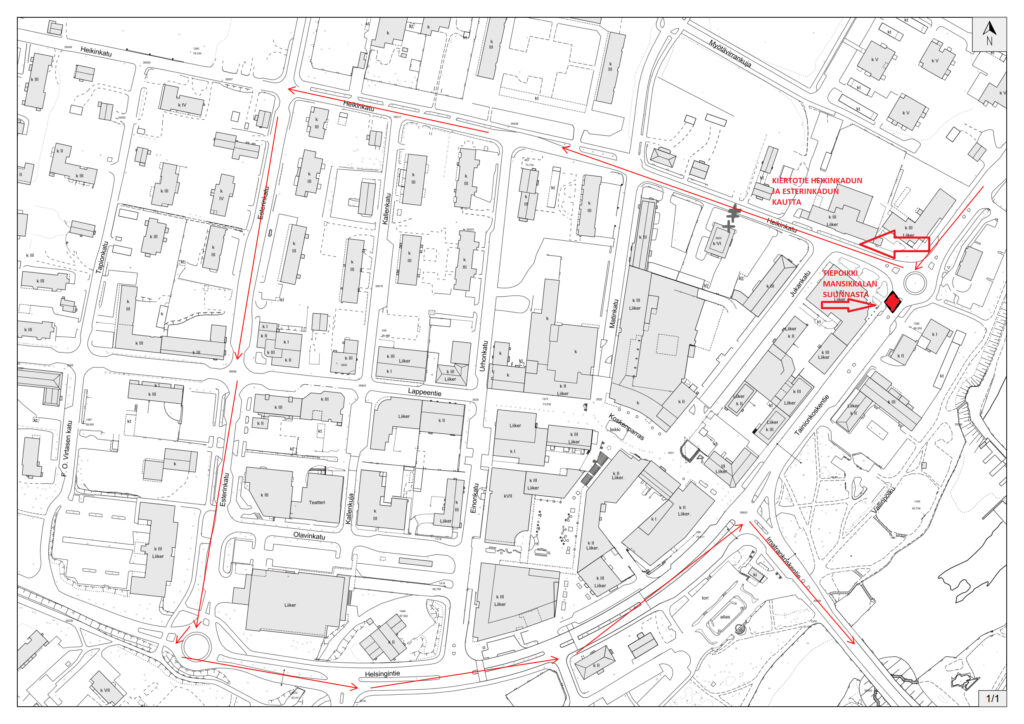 KARTTA Tainionkoskentien -Heikinkadun liikenneohjaussuunnitelma